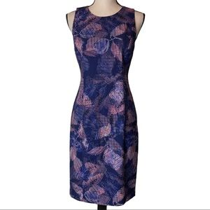 Rebecca Taylor Abstract Blue Pink Sheath Size 4